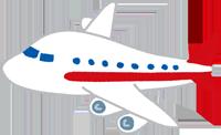 赤い飛行機のイラスト