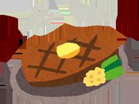 ステーキを食べるイラスト
