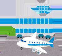 飛行場のイラスト