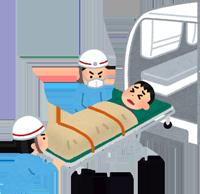 救急車で搬送されるイラスト