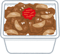 牛丼弁当のイラスト