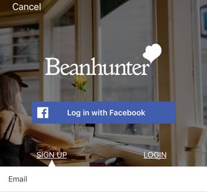 Facebookかメールかを選択する画面