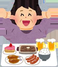 肥満の人の食事のイラスト