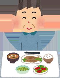 健康的な食事をする人のイラスト