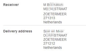オランダの郵便局では受取人と配達先が違う