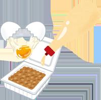 納豆とマヨネーズと生卵のイラスト
