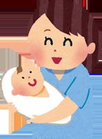 出産したばかりのママと赤ちゃんのイラスト