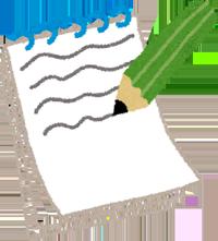 メモ帳と鉛筆のイラスト