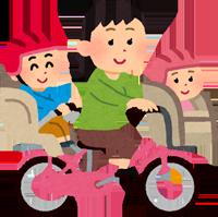 子供を二人乗せて自転車を漕ぐお母さんのイラスト