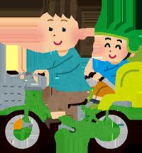 子供にヘルメットを着用させて自転車に乗っているお母さんのイラスト