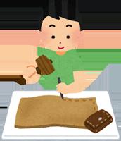 革を加工する職人のイラスト
