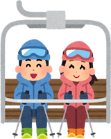 スキーのリフトに乗るカップルのイラスト