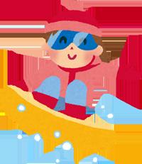 スノーボードをしているイラスト