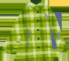 ジーパンの色が色移りした緑の柄物のシャツのイラスト