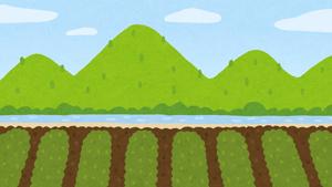 のどかな古き良き田園風景のイラスト