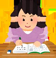 楽しく勉強する女の子のイラスト