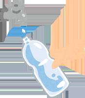 ペットボトルを洗っているイラスト