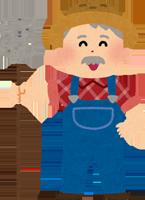 デニムのオーバーオールを着ている外国人農家のおじさんのイラスト