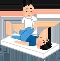 柔道整体師に施術を受ける男性のイラスト