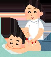 鍼灸師に鍼灸治療を行ってもらっている男性のイラスト