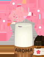 アロマディフューザーでアロマを焚いているイラスト