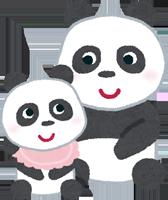 パンダの親子のイラスト