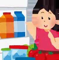 冷蔵庫を開ける女性のイラスト