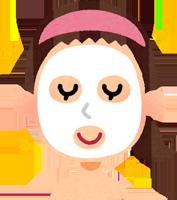 顔のパックをしている女性のイラスト