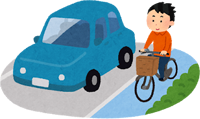 ママチャリでサイクリングしている男性のイラスト