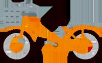 オレンジのママチャリのイラスト