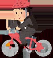 クロスバイクで通勤する女性のイラスト