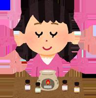 精油(エッセンシャルオイル)をアロマランプで楽しむ女性のイラスト