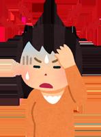 頭痛になった女性のイラスト