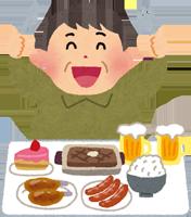 生活習慣病になりそうな太った男性のイラスト