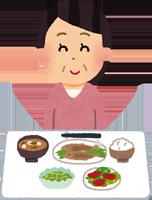 生活習慣病予防のため健康的な食事を取る女性のイラスト