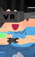ヘッドマウントディスプレイでVRのゲームを楽しむ子供のイラスト