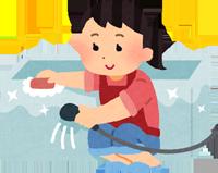 オキシクリーンでお風呂掃除をするお母さんのイラスト