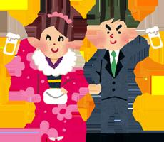 成人式で振袖を着ている女性とスーツ姿の男性のイラスト