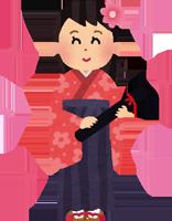 袴を着た女性のイラスト