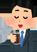 無糖の缶コーヒーを飲む男性のイラスト
