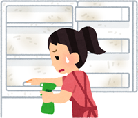 カビの生えた冷蔵庫を掃除する女性のイラスト