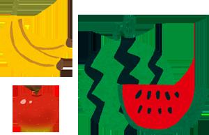 バナナとリンゴとスイカのイラスト