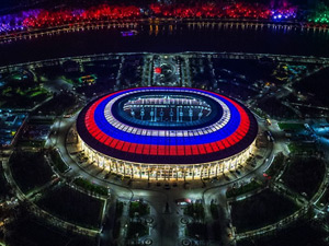 開幕戦と決勝を含めた7試合が開催されるルジニキ・スタジアムの写真