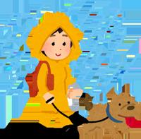 雨の日に散歩をする女性のイラスト