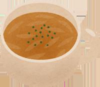 玉ねぎの入ったスープのイラスト