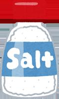 犬が玉ねぎを食べてしまった時に使う塩のイラスト