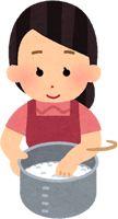 お米を水で研ぐ主婦のイラスト