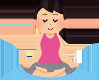 瞑想する女性のイラスト
