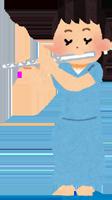 フルートを吹く女性のイラスト