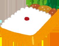 唐揚げが入っている日の丸弁当のイラスト